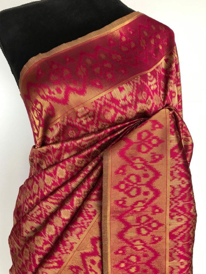 Pink Jute Silk Saree with Kotki Weaves