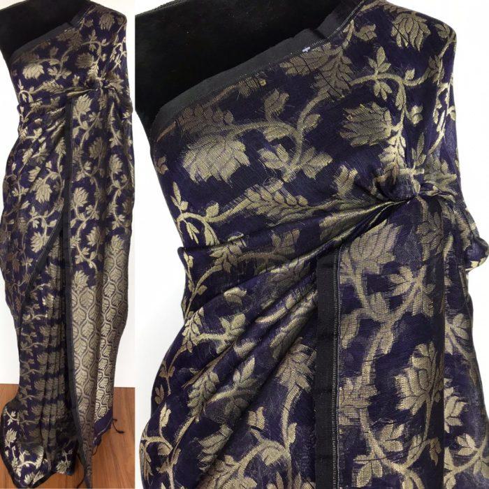 Purple Handwoven Linen Saree with Jamdani Weaves