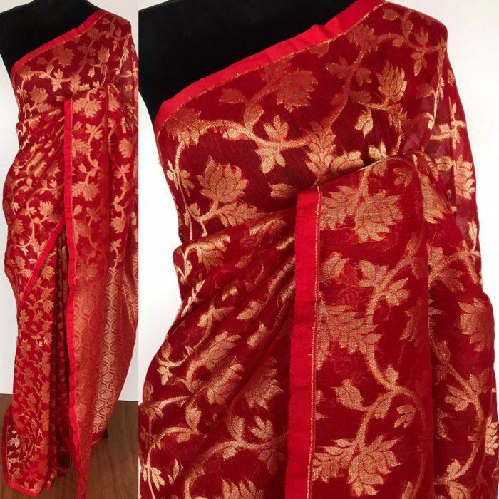 Red Handwoven Linen Saree with Jamdani Weaves