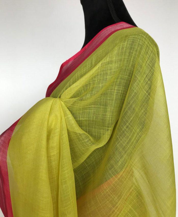 Neon Green Linen Cotton Saree