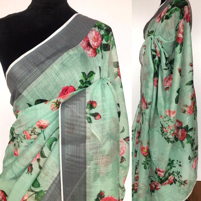 Teal Green Linen Cotton Saree