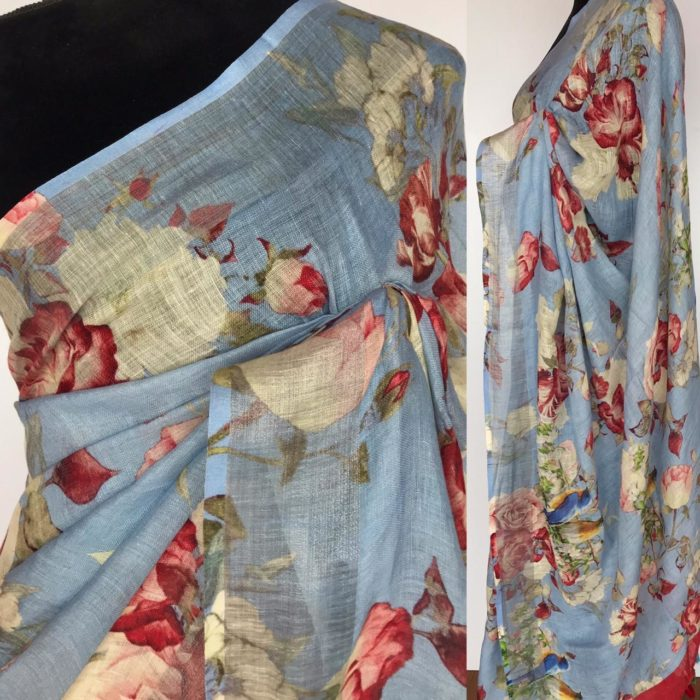 Ice Blue Handwoven Pure Linen Saree with Floral Prints