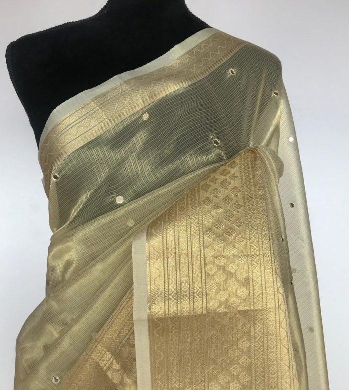 Gold Kota Silk Saree with Mirror Work