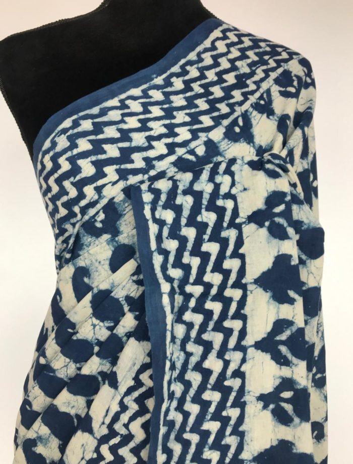 Indigo Mul Cotton Saree with Block Prints