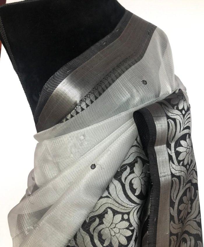 Black Silver Kota Silk Saree with Mirror Work