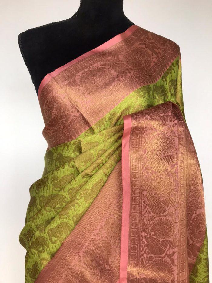 Green Kora Silk Saree with Gold Zari Weaves