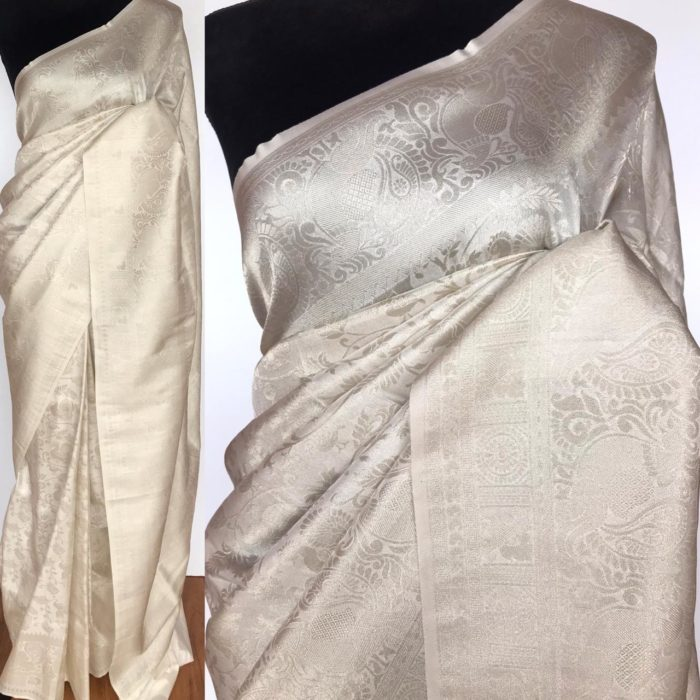 White Banarasi Silk Saree with Silver Zari Weaves