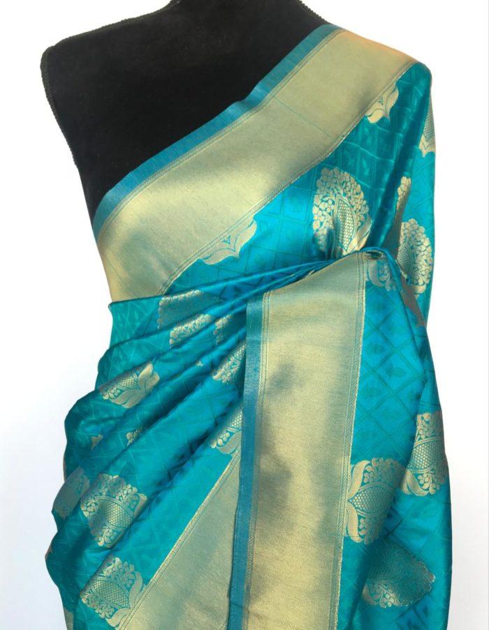 Blue Banarasi Silk Saree with Gold Zari Weaves