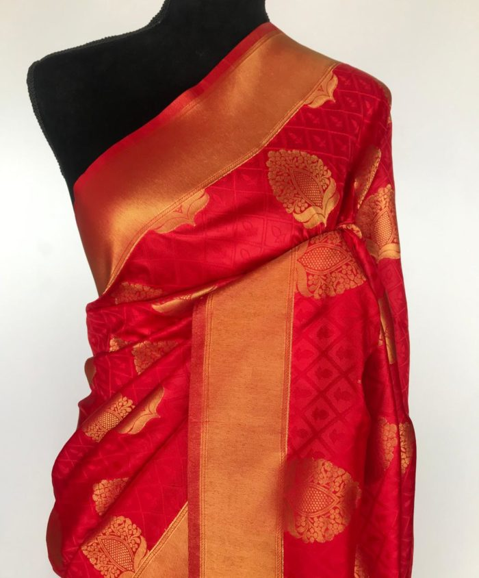 Red Banarasi Silk Saree with Gold Zari Weaves