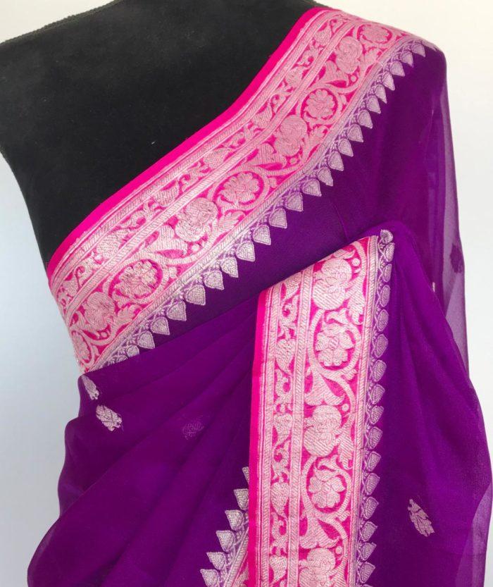 Purple Pure Khaddi Banarasi Silk Saree in Chiffon woven in Silver Zari