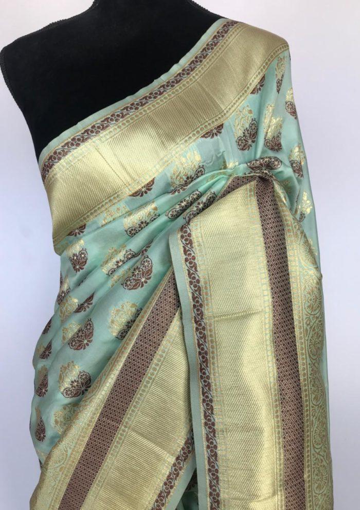 Mint Banarasi Silk Saree with Gold Zari Buttas