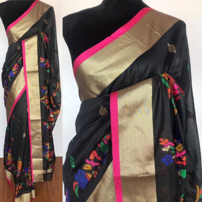 Black Cotton Silk Saree with Jamdani Weaves
