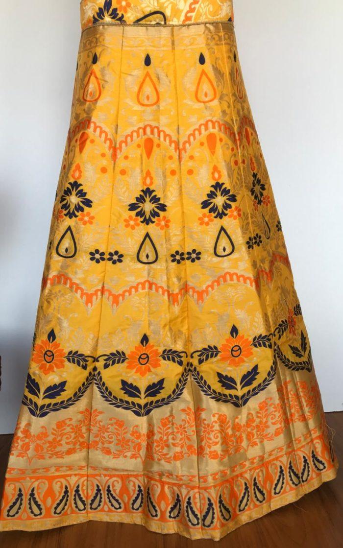 Yellow Banarasi Silk Lehenga