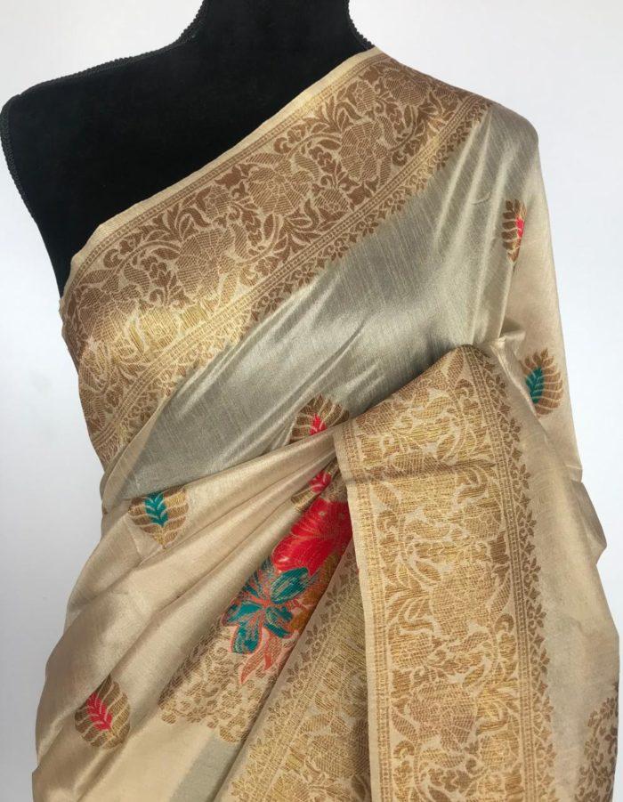 Cream Banarasi Silk Saree with antique zari and meenakari weaves