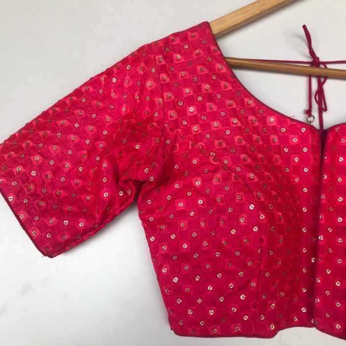 Hot Pink Raw Silk Blouse