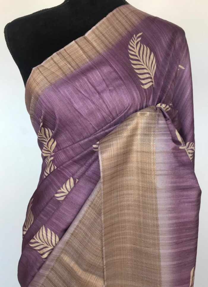 Purple Soft Silk Saree with digital prints