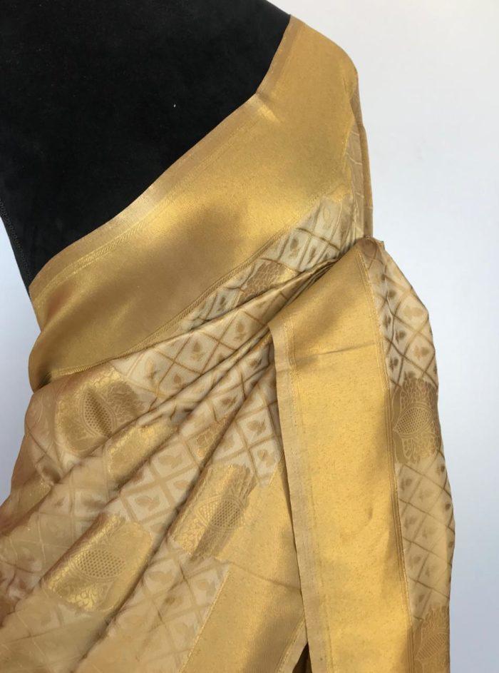 Cream Banarasi Silk Saree with Gold Zari Weaves