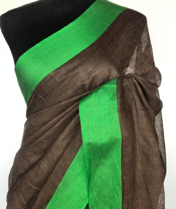 Pure Brown Linen Saree
