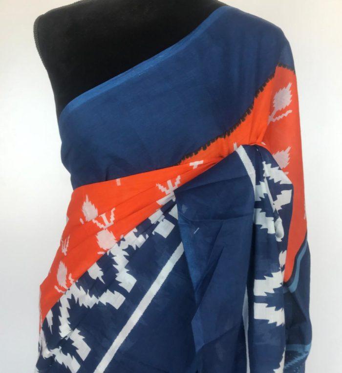 Orange Mul Cotton Saree