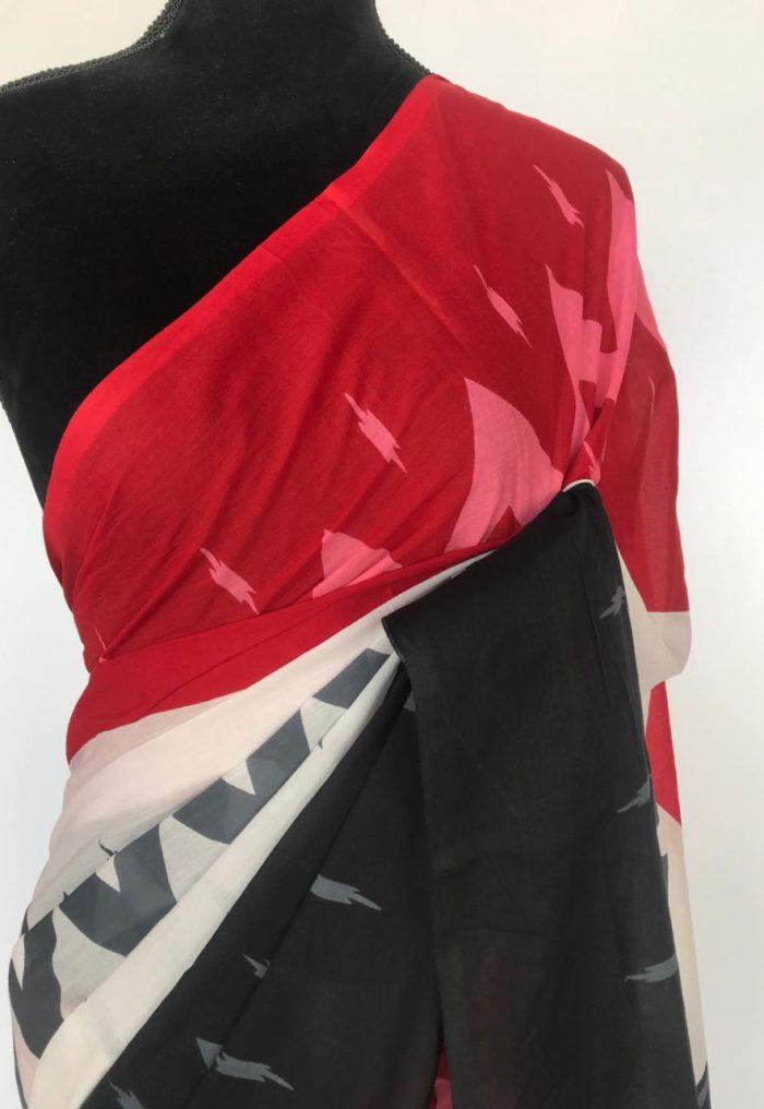 Tricolor Block Printed Mul Cotton Saree