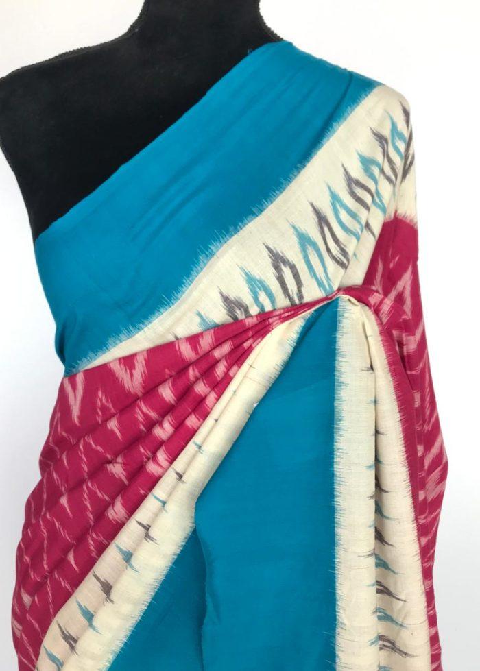 Pink Ikat Cotton Saree