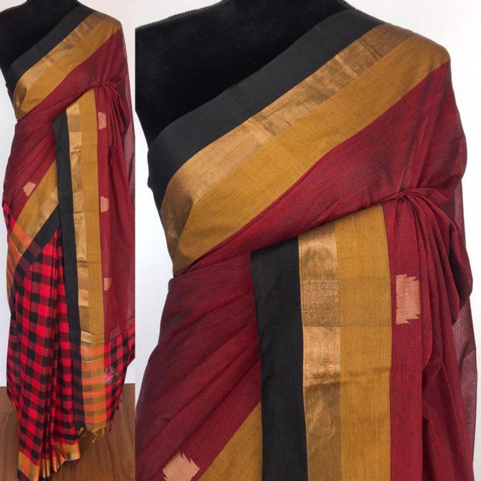 Maroon Negamam Cotton Saree with temple motifs