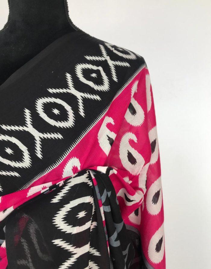 Multicolored Block Printed Mul Cotton Saree