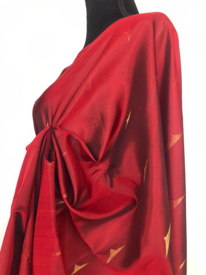 Deep Red Kanjivaram Silk Saree woven in Gold Premium Zari