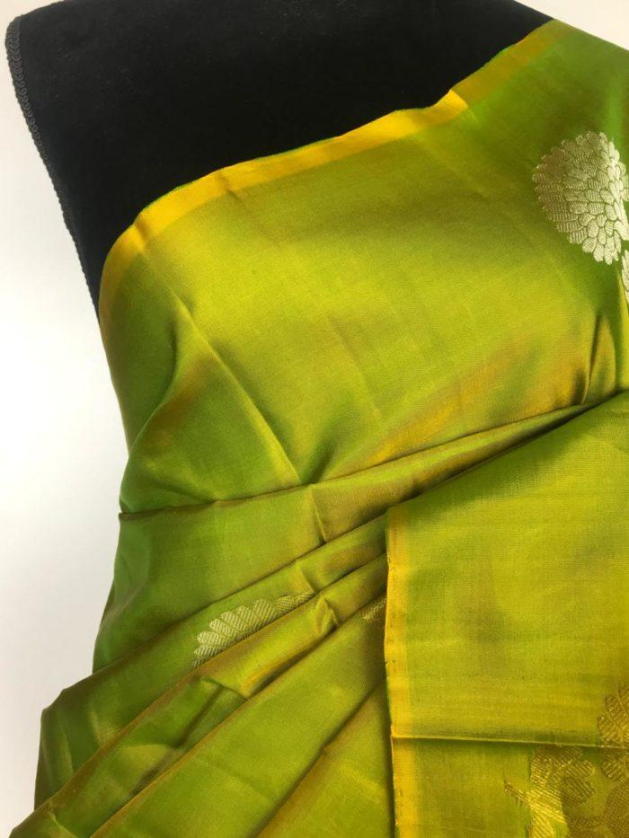 Leaf Green Kanjivaram Silk Saree woven in Gold and Silver Zari
