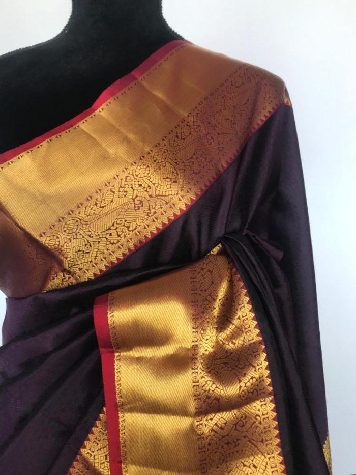 Dark Purple Pure Kanjivaram Silk Saree