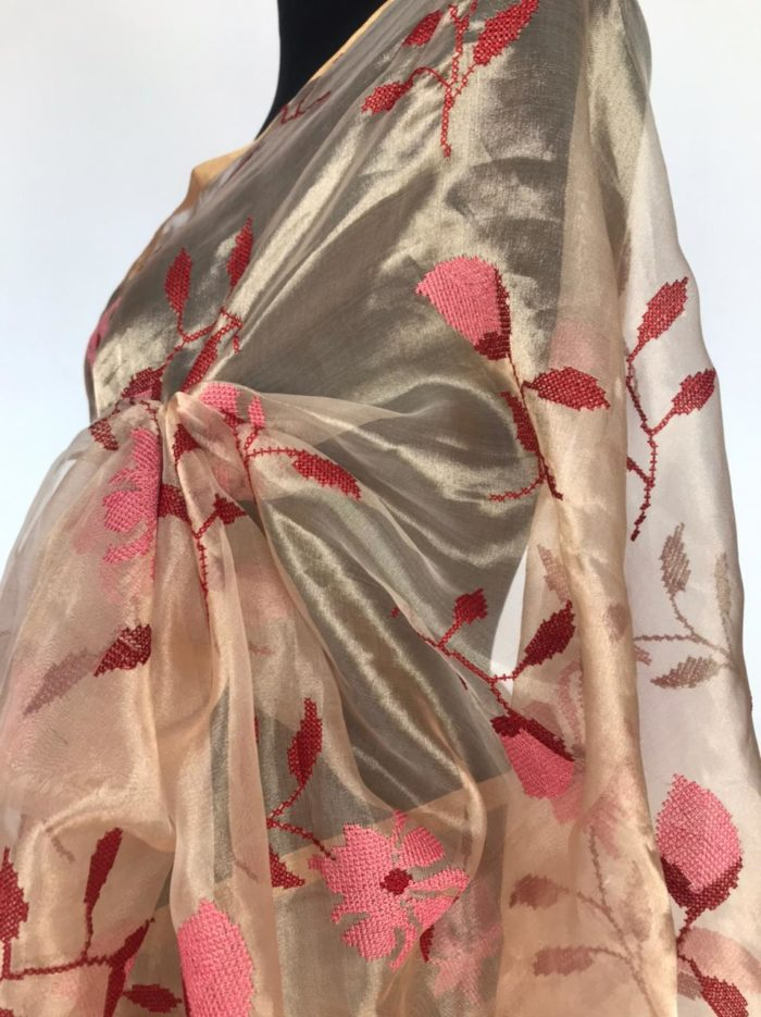 Gold Tissue Silk Saree with Cross-stitch Embroidery