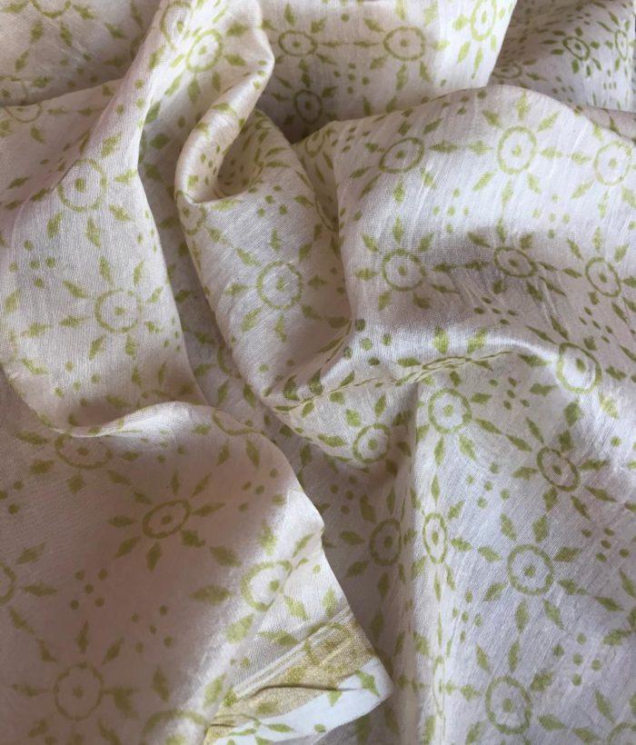 Offwhite Chanderi Silk Saree with Digital Prints