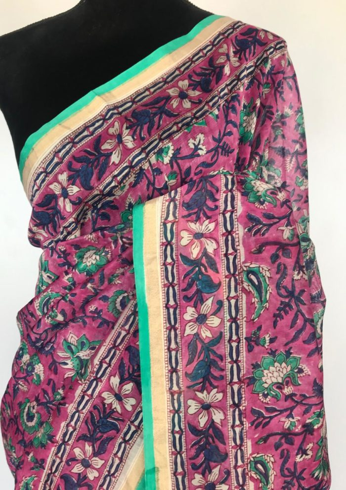 Pink Chanderi Silk Saree with Digital Prints