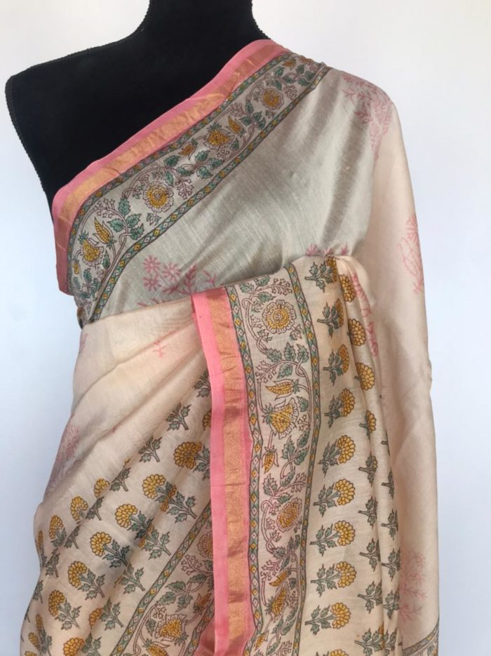 Offwhite Chanderi Silk Saree with Digital Prints