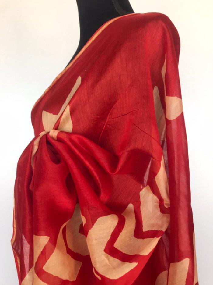 Red Chanderi Silk Saree with Block Prints