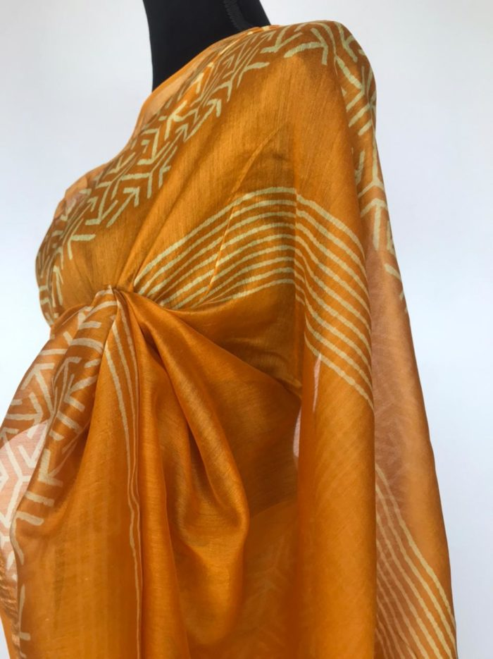 Mustard Chanderi Silk Saree with Block Prints