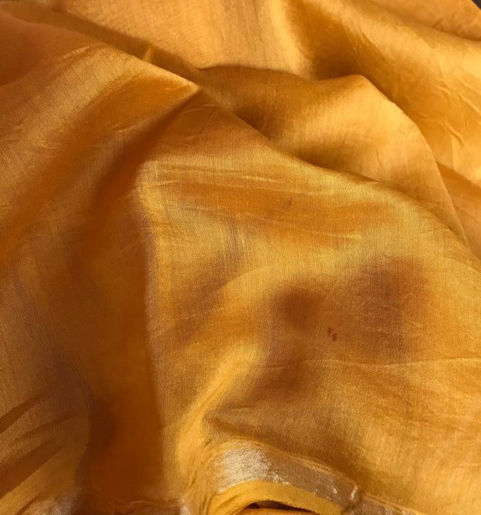 Mustard Chanderi Silk Saree with Block Prints