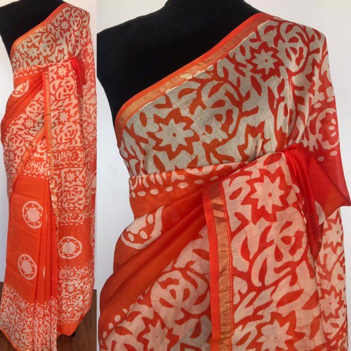 Orange Chanderi Silk Saree with Block Prints