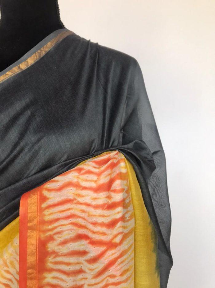 Grey Chanderi Silk Saree with Block Prints