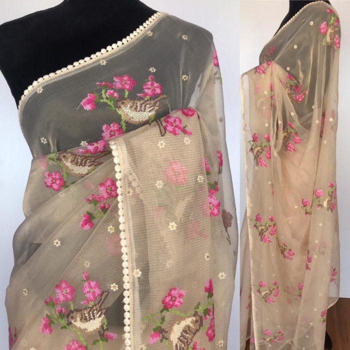 Cream Glass Tissue Silk Saree with Cute Birds Embroidery