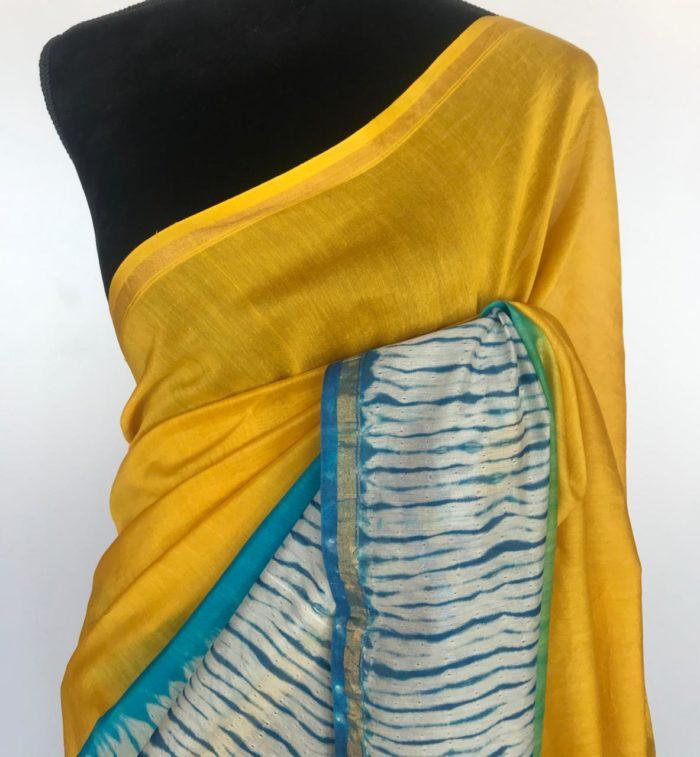 Yellow Chanderi Silk Saree with Shibori Prints