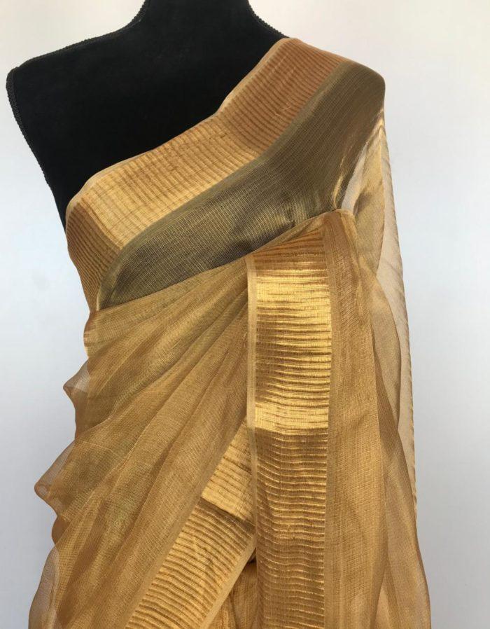 Plain Gold Tissue Saree with Gold Zari Weaves