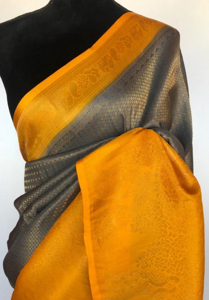 Grey Banarasi Silk Saree with Gold Zari Weaves