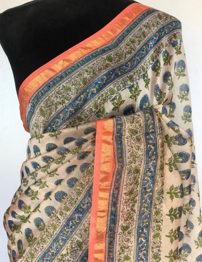 Offwhite Chanderi Silk Saree with Block Prints