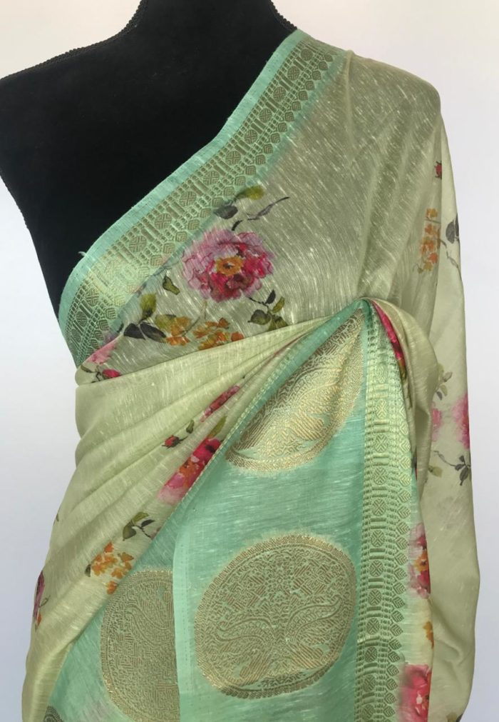 Sea Green Linen Cotton Saree With Printed Flowers