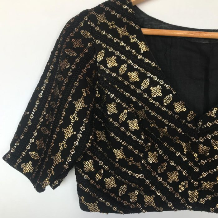 Black Georgette Blouse with Sequins Embroidered all over