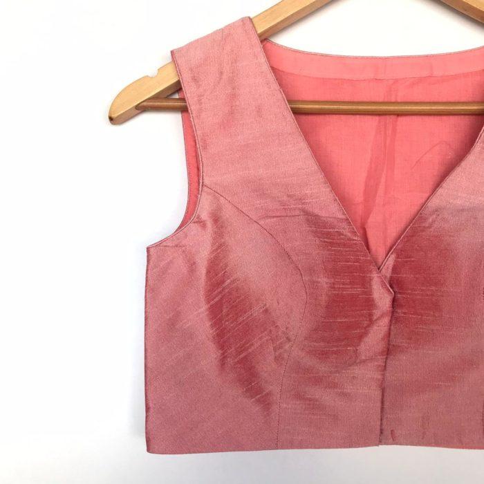 Baby pink Semi Raw Silk Blouse