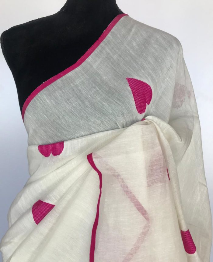 Snow White Handwoven Pure Linen Saree with Handwoven Heart Motifs