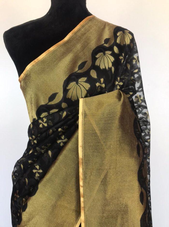 Black Tissue Net Saree with Gold Zari Weaves