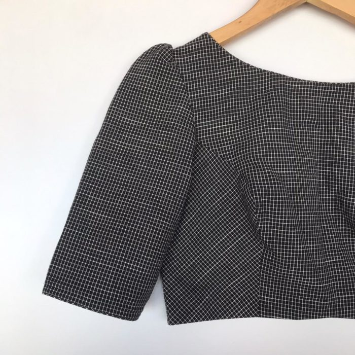 Black Chequered Cotton Blouse